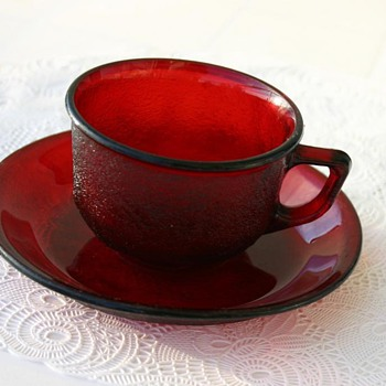 Ruby Red Glass Cup and a Saucer - Is it Anchor Hocking? - Glassware