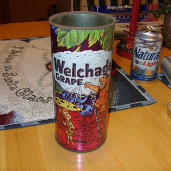 1964 tin welchade grape fred and wilma flintstone juice container - Advertising