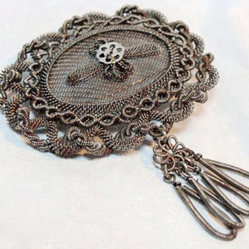 Antique Silesian Wirework Brooch