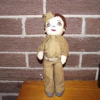 World War I 1918 Handmade Soldier Doll Made By, Maude Cadwallader