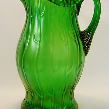 "Nouveau Loetz Creta Neptune Rolled Rim Green/Golden Iridescent Pitcher 10.5"" - Art Nouveau"