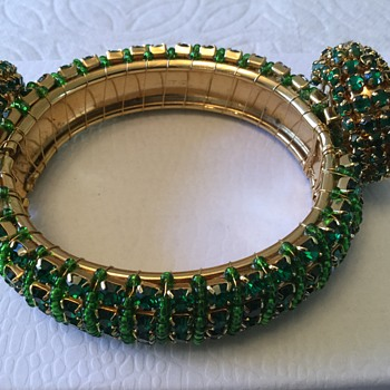 Forest Green Rhinestone & Seed Bead Bracelet & Earring Set - Costume Jewelry
