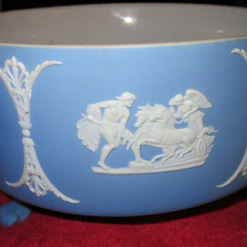 Wedgwood Blue Jasper Dip Footed Bowl (Pre 1900's) - China and Dinnerware