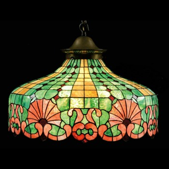 Antique leaded glass hanging lamp
