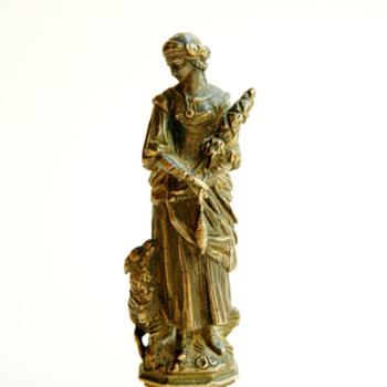 Sceau cachet en bronze figurant une fileuse de laine, XIXème - french victorian bronze seal figuring a spinning woman - Victorian Era