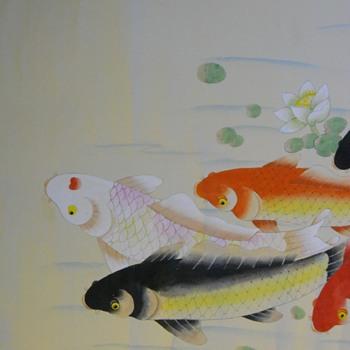 "Japanese Scroll painting""Japanese Koi""Mid 20 Century - Asian"