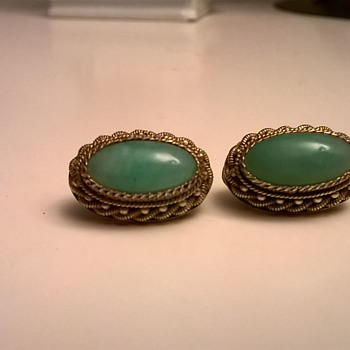 .835 Silver Gilt/Green Stone Vintage Clip Earrings - Flea Market Find $1.00