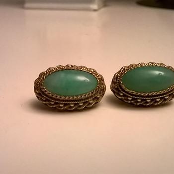 .835 Silver Gilt/Green Stone Vintage Clip Earrings - Flea Market Find $1.00