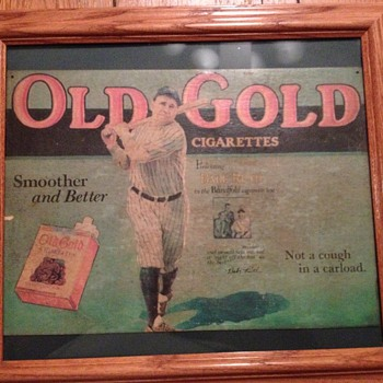 Babe Ruth Old Gold Cigarette Cardboard Sign