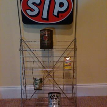 STP Display Rack with Racer's Edge embossed sign - Petroliana