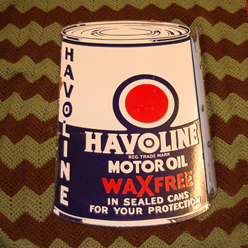 1934 Havoline Doubled Sided ,Flanged Mounted ,Porcelean Sign. - Petroliana