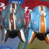 Striped elephant salt and pepper shakers