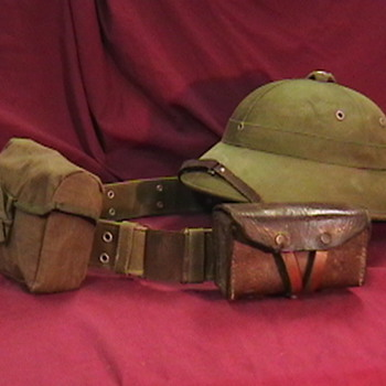 NVA Belt, Ammo Pouch, Bandage Pouch, and Pith Helmet - Military and Wartime