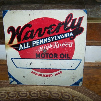 Porcelain Waverly All Pennsylvania High Speed Motor Oil Sign - Signs