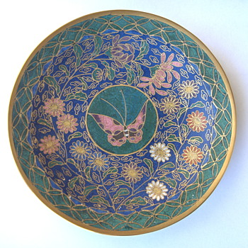Mysterious Antique Asian Cloisonne 6in Dish Bronze Heavy Piece - Asian