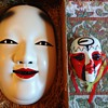 Noh Mask  KO Omote  Wood  with ceramic one from earlier post and China Opera ceramic mask little