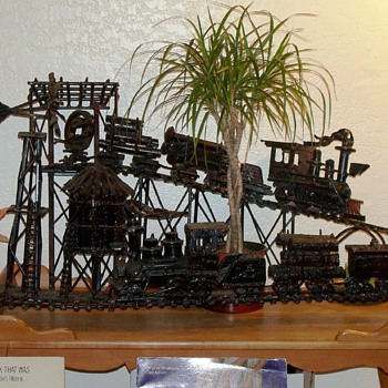 Solid Iron Train Sculpture