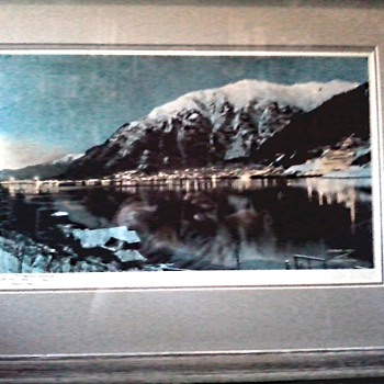"Trevor Davis Signed Tinted Photographic Print / ""Harbor Lights"" Juneau, Alaska 1942 /Circa 1977 - Posters and Prints"