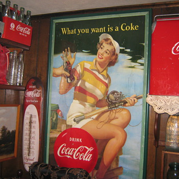 1953  Coca Cola fishing girl  29 wide  by 48 Long - Advertising