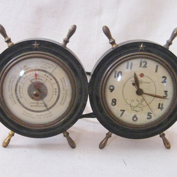 Vintage General Electric Navigator Ship Wheel Table Desk Clock 3H98 Barometer 8026  - Clocks