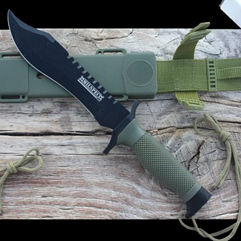 'MILSPEC' MILITARY-Style FIXED BLADED CAMPING/HUNTING KNIFE with PLASTIC & NYLON SHEATH - Tools and Hardware