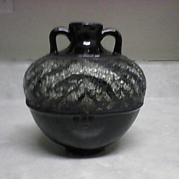POTTERY VASE WITH A ZEBRA CUT GLASS DESIGN - Pottery
