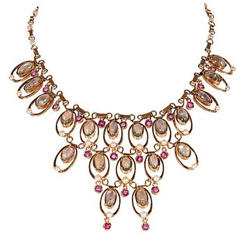 Art Deco yellow 18K gold Moonstone Ruby necklace
