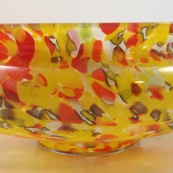 Czech Glass bowl with paper label - SZBK - Art Glass