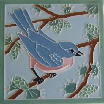 "4.25"" bird ceramic art tiles from American Encaustic, Zanesville, OH - Art Pottery"