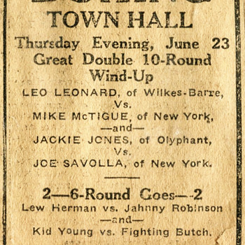 1921 Newspaper Ad for a Scranton, PA Boxing match