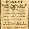 1921 Newspaper Ad for a Scranton, PA Boxing match