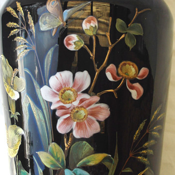 MORE PIX BIG BLACK  BEAUTY VASE HARRACH