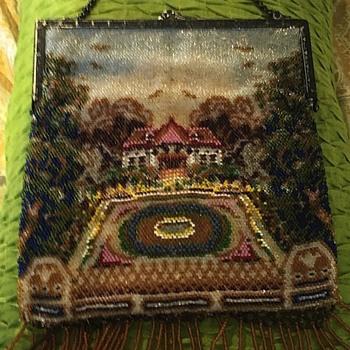 micro beaded scenic purse