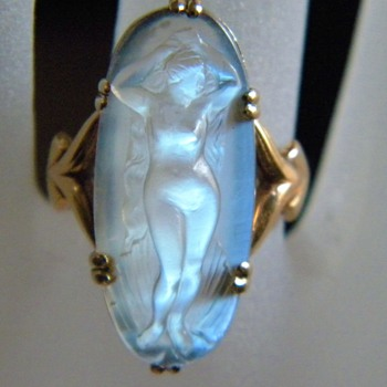 Antique Neaveau Carved Moonstone Full Nude Cameo 18k 750 French Full Figure - Fine Jewelry