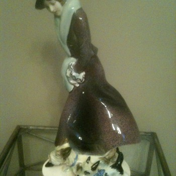 Art Deco Ceramic Lady with Her Dogs