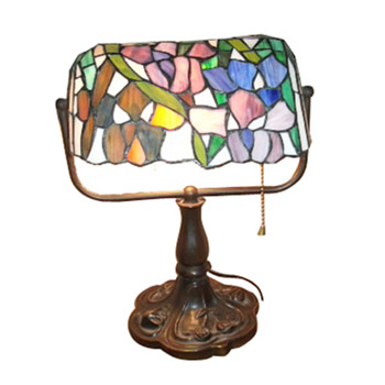 Tiffany Style Banker Lamp; Dale Tiffany exact Floral Base dark wood - Art Glass