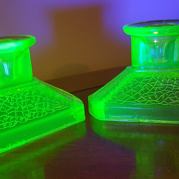 Pair of Candlestick Holders - Glassware