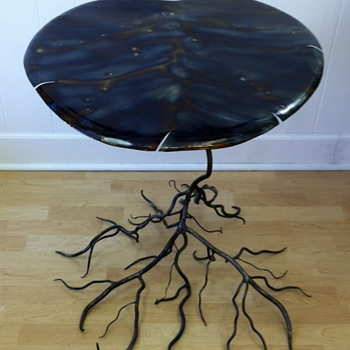 Kevin Kuhnel Folk Art / Art Nouveau Style Lilly Pad Occasional Table - Art Nouveau