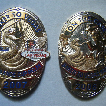 BAKER TO VEGAS 2006/2007 RACE CUP RELAY BADGES - Medals Pins and Badges