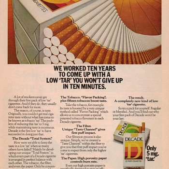 1978 - Decade Cigarettes Advertisement