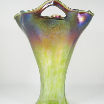 "Rare Rindskopf punched handled art glass vase ""pepita"" decor ca. 1900"