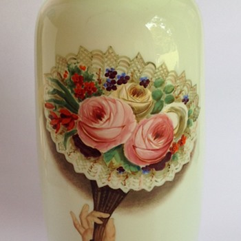 Victorian custard glass vase with painted decoration