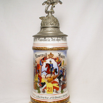 Imperial German Reservist's Stein of Dragoon Rupp - Breweriana