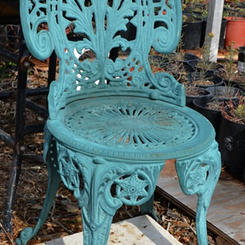 Victorian Cast Iron Patio Chair - Nice Green Color - Victorian Era