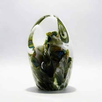 "PAPERWEIGHT  MARKED ""SGS 2-91"" - Art Glass"
