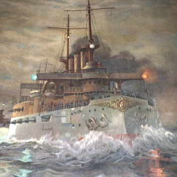 I found this painting of the USS Connecticut, by Fred Pansing. anybody know anything about it? - Folk Art