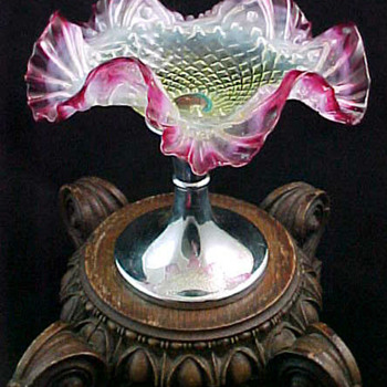 Antique Bohemian Cranberry Opalescent Art Glass Compote