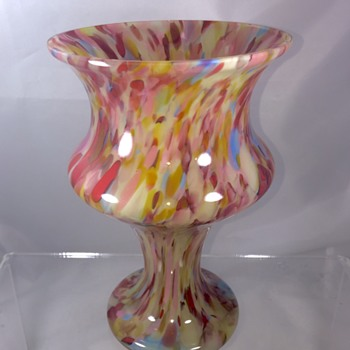 Czech Deco Pink Blue Red Spatter Vase.  - Art Glass