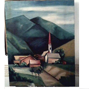 "Interesting Old Landscape Painting ""Austrian Alps"" ? / 22"" x 27 1/2"" / Unsigned Unknown Circa 1950-60's ?"
