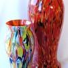 Tooled Rückl Peloton Decor, Red, Orange, Green and Blue Glass Pieces